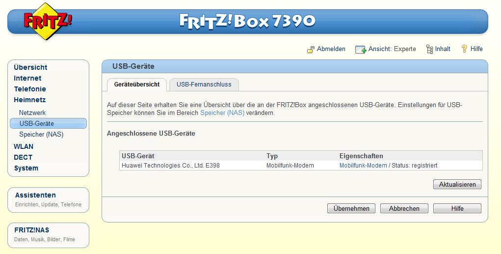 fritz box 7390 und 7270 unterst tzt neue umts lte modems. Black Bedroom Furniture Sets. Home Design Ideas