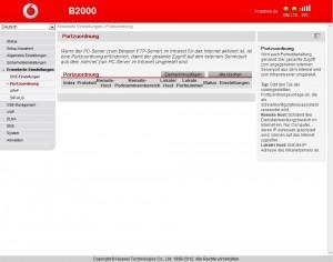 Vodafone B2000 Erweiterte Einstellungen