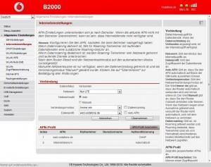 Vodafone B2000 Interneteinstellungen