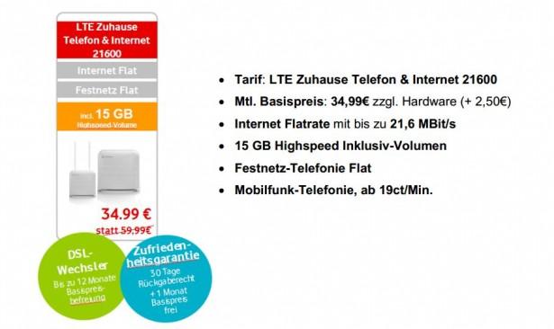 Vodafone LTE Zuhause Sommer Aktion