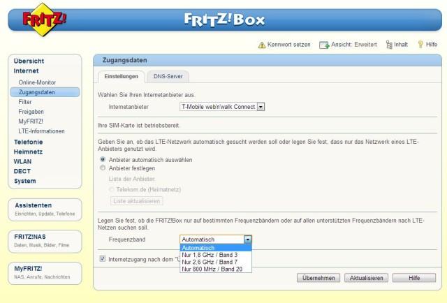 Fritzbox LTE-Frequenz