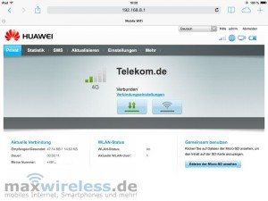 Startseite-Webinterface