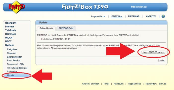 """... und dann auf """"Aktualisieren"""" und auf """"Neues FRITZ!OS suchen""""."""
