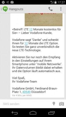 Vodafone LTE SMS