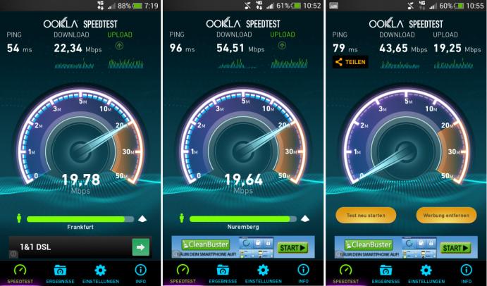 Speedtest-Ergebnisse: E-Plus LTE im Uplink gut, Downlink schwankend und Ping teils schlecht