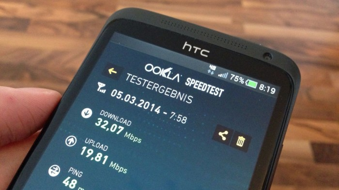E-Plus LTE Speedtest auf dem HTC One XL