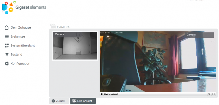 Gigaset Elements Camera Webinterface mit Live-Videostream