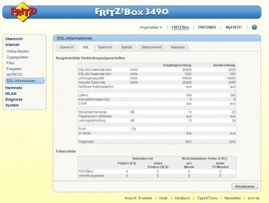 DSL Info-Menü der FRITZ!Box 3490
