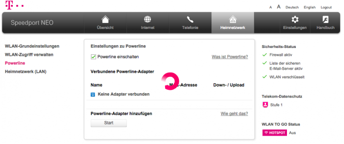 Powerline-Funktion im Webinterface des Speedport Neo