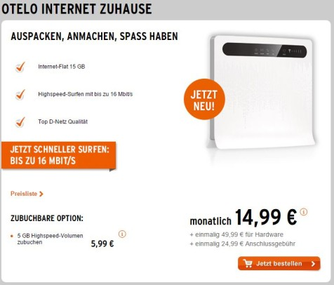Das Otelo Internet Zuhause Angebot (Screenshot)