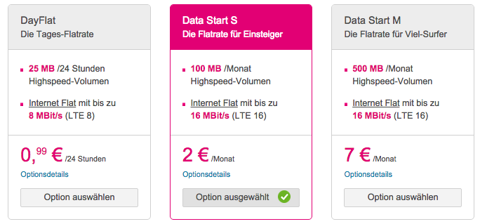 MagentaStart LTE Optionen