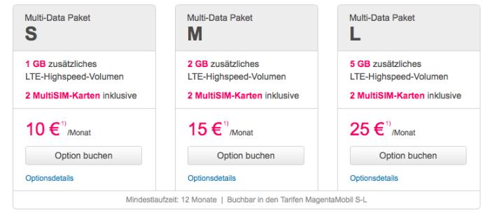 Die drei Telekom Multi-Data Optionen im Vergleich.