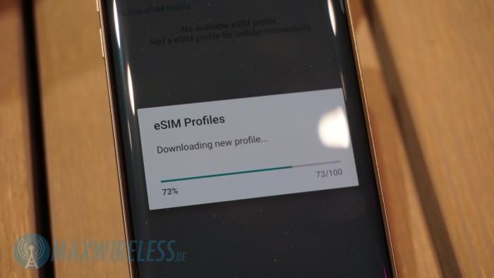 Im dritten Schritt wird das eSIM Profil heruntergeladen