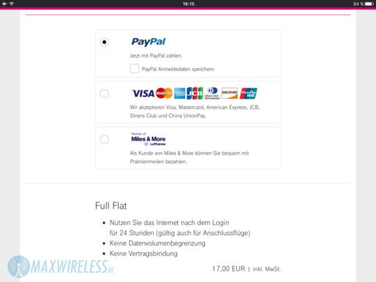 Bezahlmöglichkeiten für den FlyNet WLAN Zugang