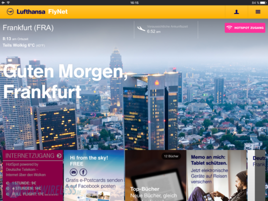 Das kostenlose FlyNet Portal