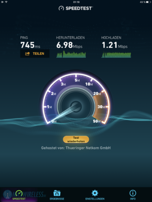 Speedtest in Europa (über Norwegen)