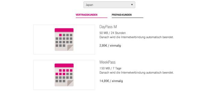 Die Telekom bietet einen DayPass und einen WeekPass für Japan an.