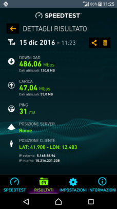 Speedtest im TIM 4.5G Netz
