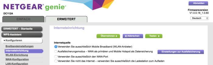 Internet gibt es entweder über WAN oder über Mobilfunk.