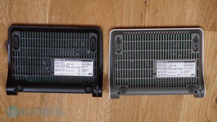 Die Rückseite der beiden FRITZ!Box 7590 Modelle.