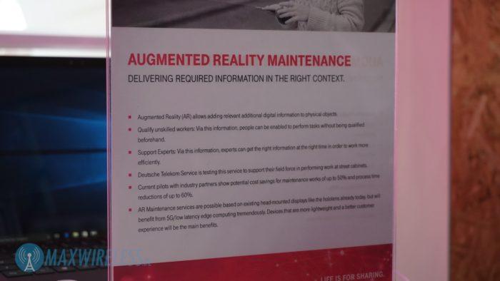 Infotafel der Telekom zu AR Maintenance im 5G Netz.