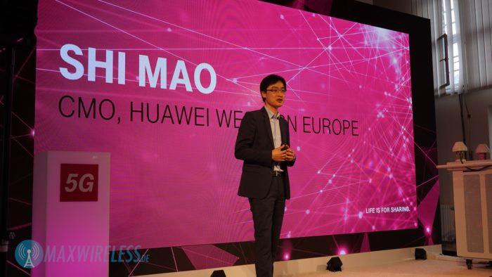 Das Telekom 5G Testnetz wird zusammen mit Huawei betrieben. Im Bild: Huawei Europe CMO Shi Mao.