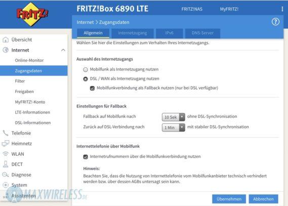 Über ein Dropdown-Menü lässt sich einstellen, nach welcher Zeit der Fallback auf LTE bzw. DSL erfolgt.
