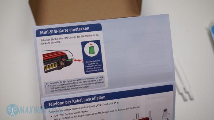 Hinweis auf Nutzung einer Mini-SIM Karte.