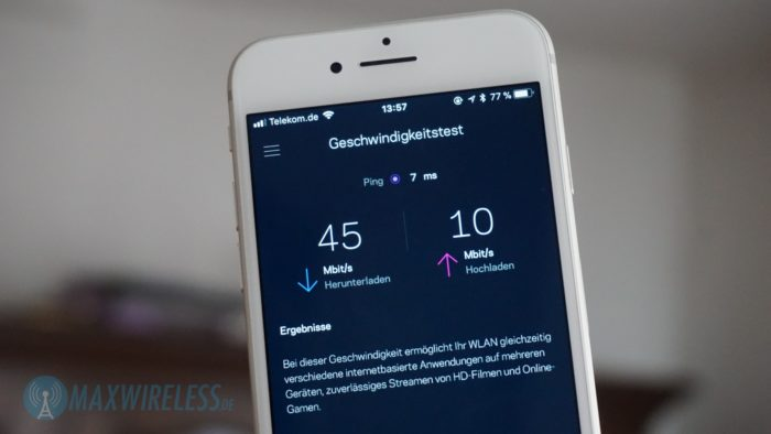 (Fast) volle VDSL 50 Geschwindigkeit über die integrierte Speedtest-Funktion der Velop App.