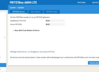 AVM FRITZ!Box 6890 LTE Firmware Update auf 06.85. Screenshot: maxwireless.de