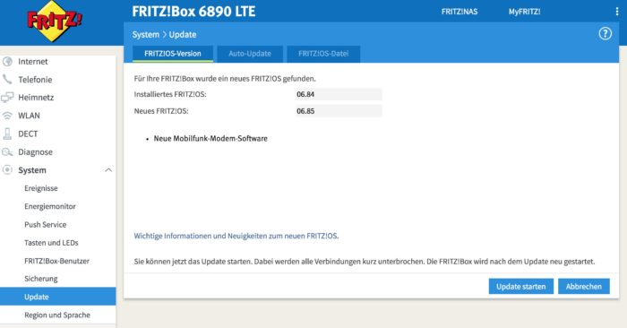 AVM FRITZ!Box 6890 LTE Firmware Update auf 06.85. Screenshot: maxwireless.de