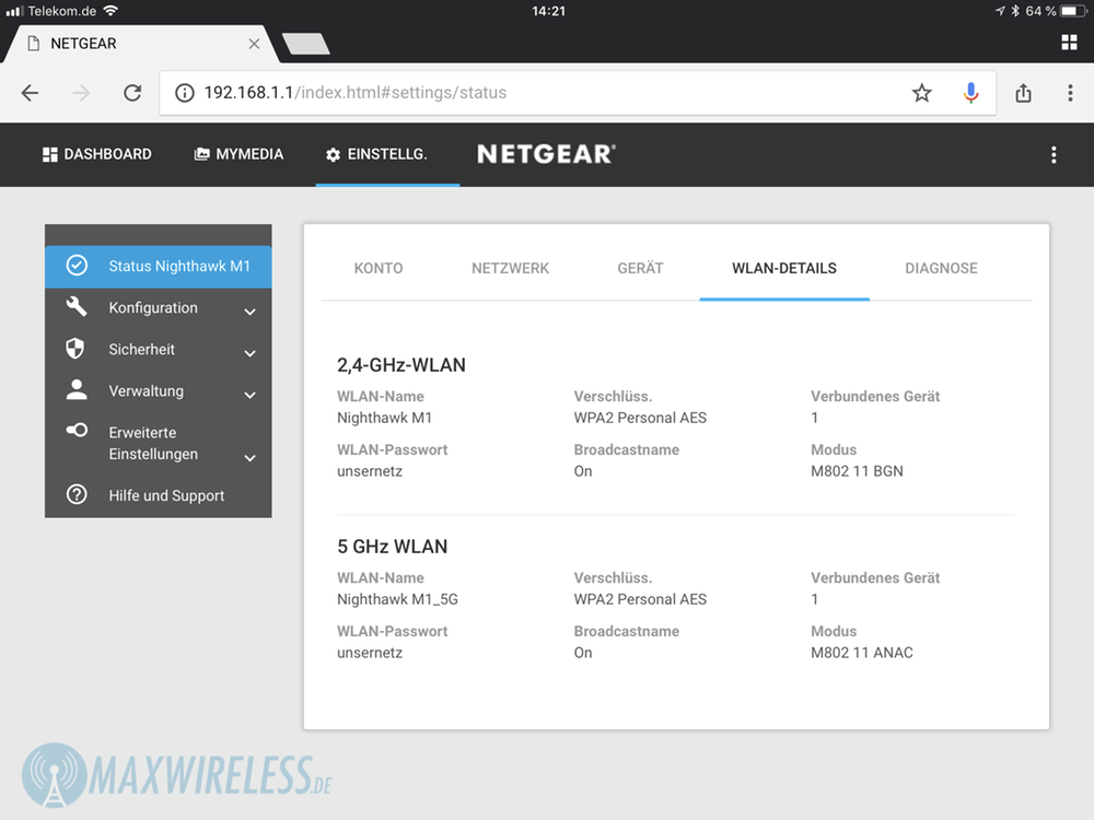 Test: Netgear Nighthawk M1 MR1100 LTE Router | maxwireless de