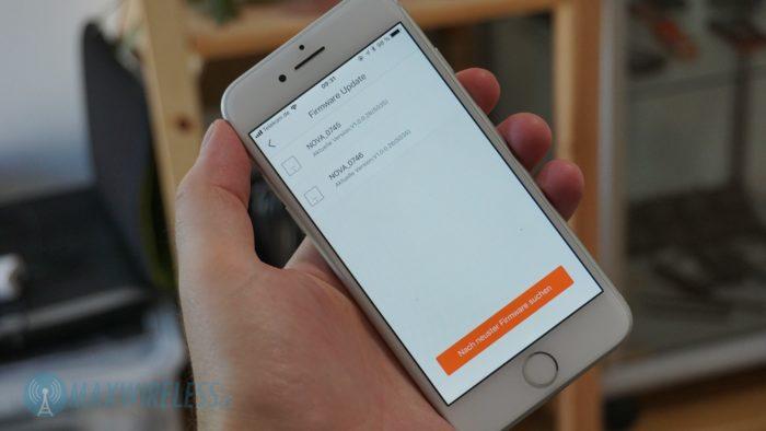 Die Firmware der Accesspoints kann via App aktualisiert werden.