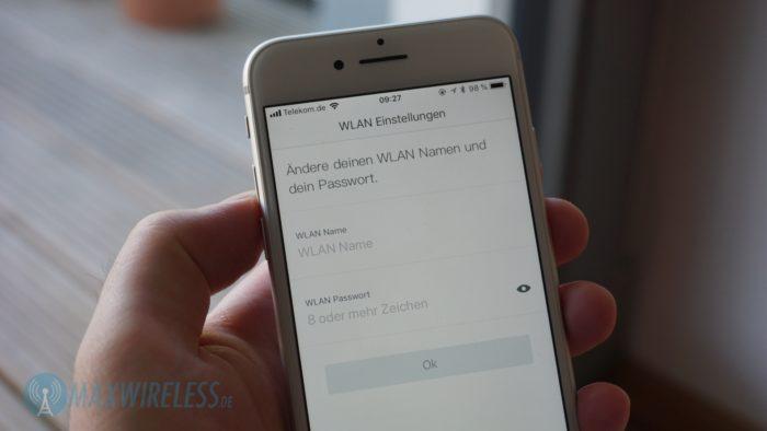 WLAN Name und Passwort müssen bei der Einrichtung geändert werden.