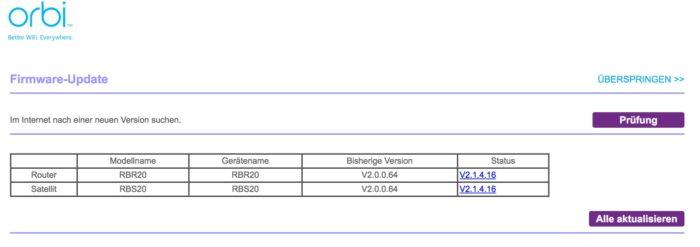 Firmware-Update beim Netgear Orbi RBK20. Bild: maxwireless.de.