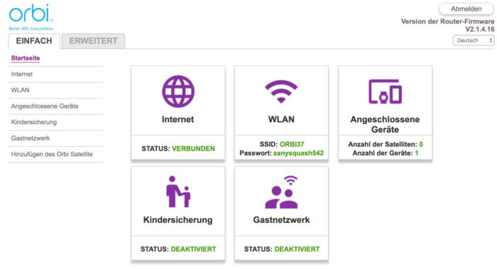 Hauptmenü des Netgear RBK20 Webinterface. Screenshot: maxwireless.de.