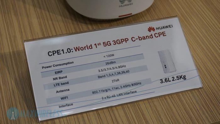 Datenblatt zum Huawei 5G C-Band Modem-Router. Bild: maxwireless.de.