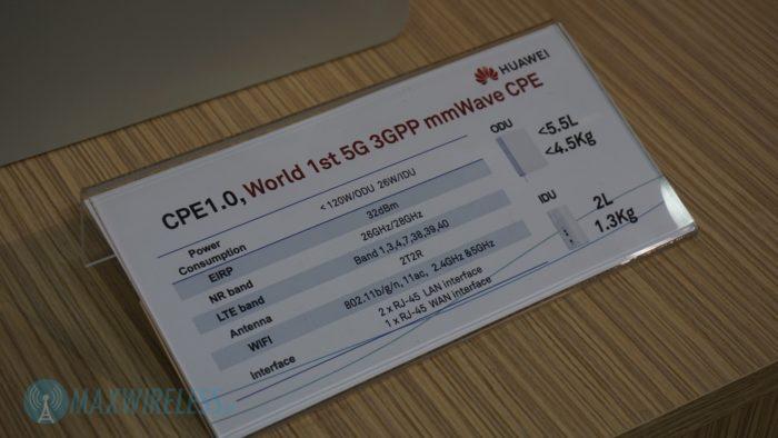 Datenblatt Huawei 5G mmWave Router. Bild: maxwireless.de.