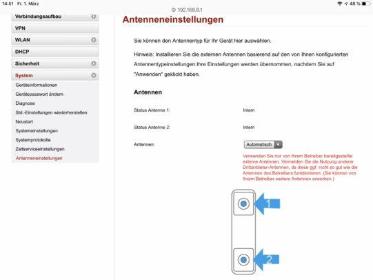 Webinterface: Externe Antenne am Huawei B529.