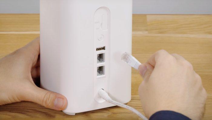 RJ45 Gigabit Ethernet LAN Schnittstelle am Huawei B818.