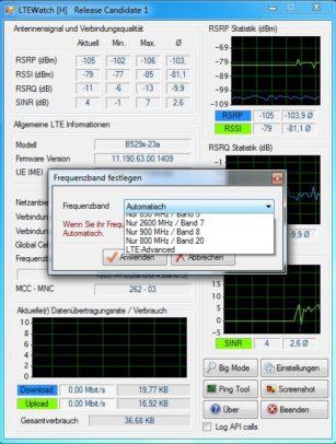 Frequenzbandwahl bei LTEWatch für Huawei.