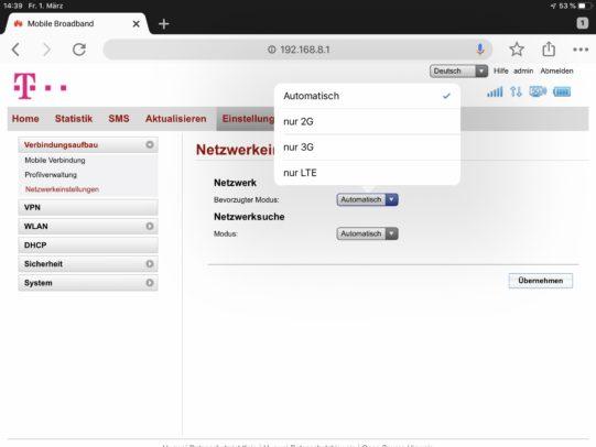 Netzwahl am Huawei B529.