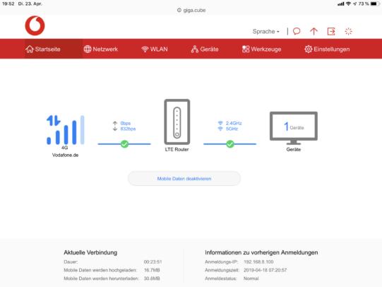 Huawei B818: Webinterface