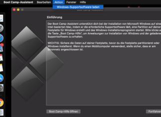 Installation der Windows Supportdaten via Bootcamp.
