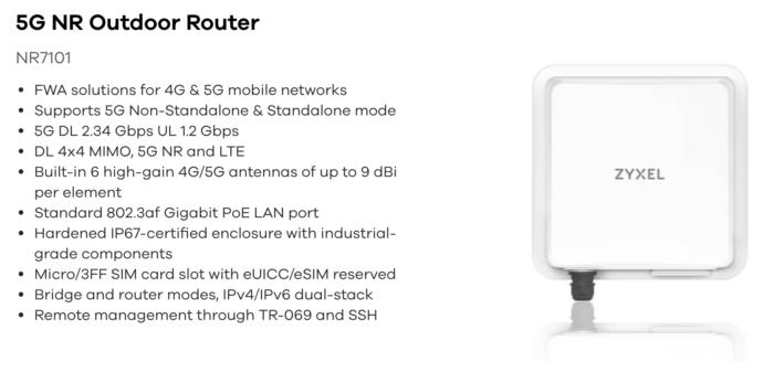 Ausstattung des Zyxel NR7101 5G Router.
