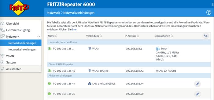 Aktiver 2,5 GBit/s LAN-Anschluss am FRITZ!Repeater 6000.